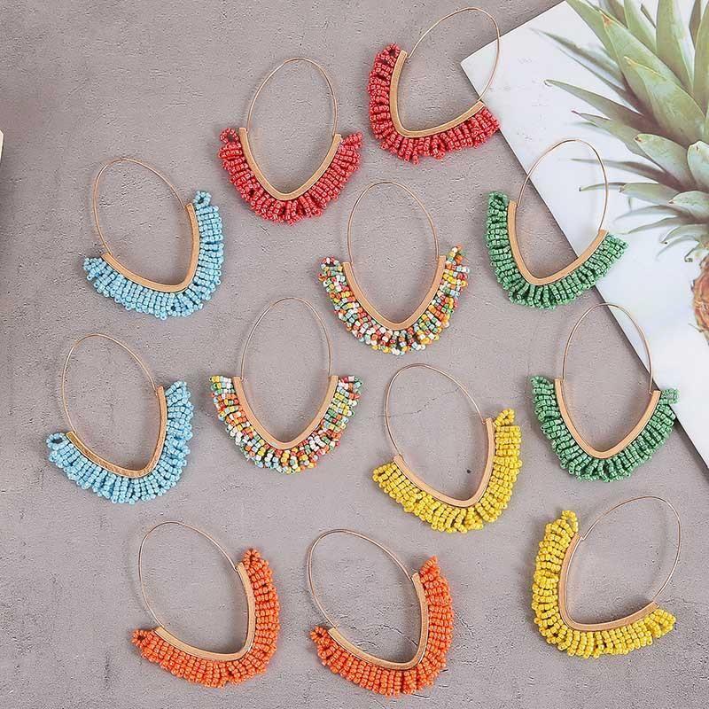 Bohemian Geometric Handmade Rice Bead Earrings Cute Multicolor Acrylic Earrings NHLA204596