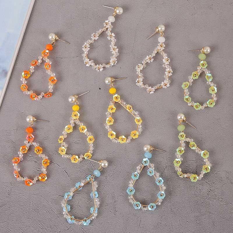 Korean 925 silver needle hand-knitted acrylic flower earrings drop-shaped cute earring jewelry NHLA204599