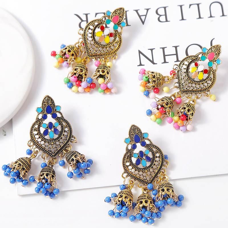 Tassel metal drip oil colored vintage earrings geometric ornaments NHLA204600