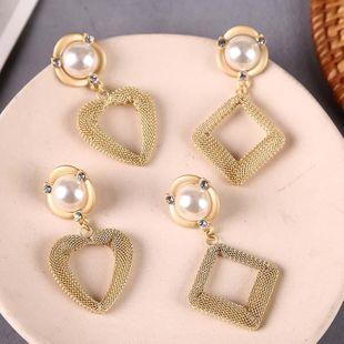 New Korean Cute Geometric Hollow Heart Earrings Diamond Metal Pearl Inlaid Jewelry NHLA204604's discount tags