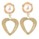 New Korean Cute Geometric Hollow Heart Earrings Diamond Metal Pearl Inlaid Jewelry NHLA204604