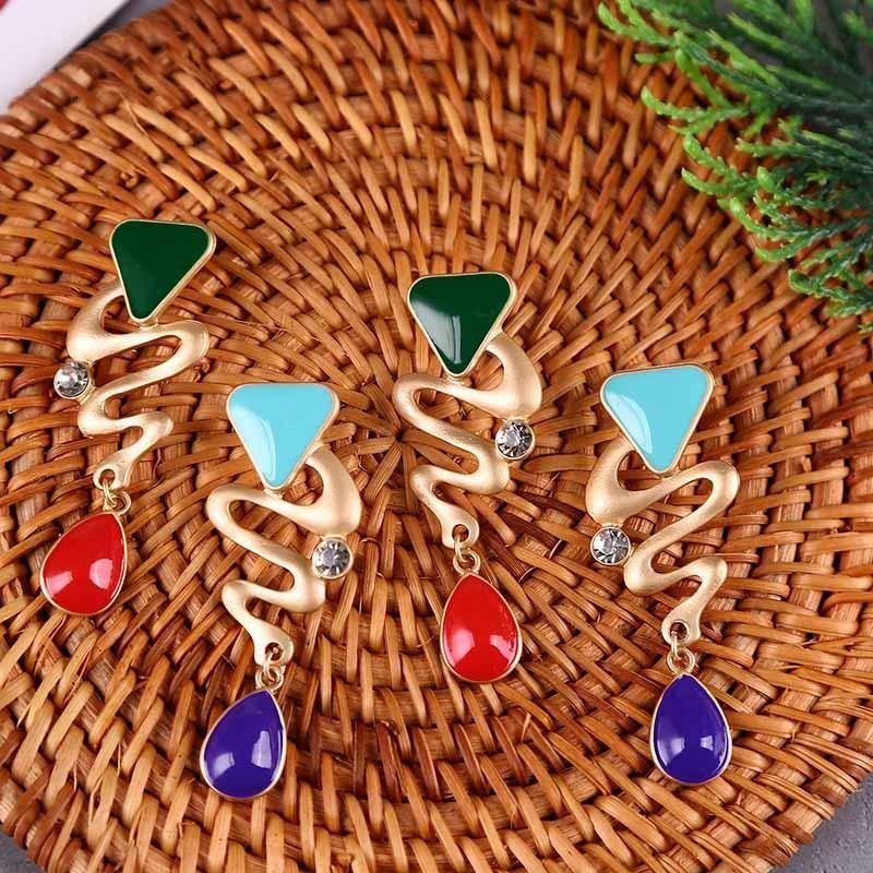Korean Oil Drop Rhinestone Geometric Earrings Enamel Earring Jewelry NHLA204606