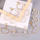 New Geometric Round Handmade Pearl Earrings Korean Hoop Jewelry NHLA204608