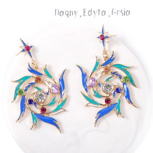 Geometric bright starry drop crystal earrings jewelry wholesales fashion  NHLA204611's discount tags