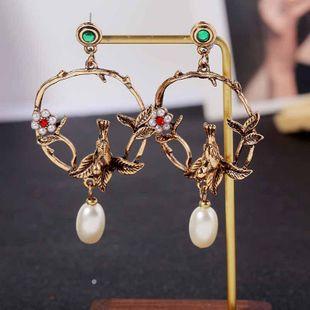 New geometric round bird retro earrings bronze pearl earrings jewelry wholesales yiwu NHLA204613's discount tags