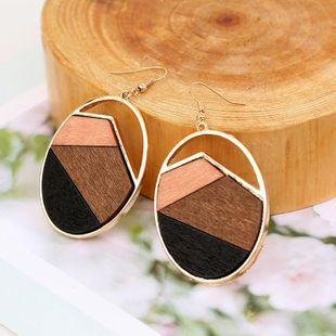 New wood color matching geometric earrings round alloy Korean jewelry NHLA204614's discount tags