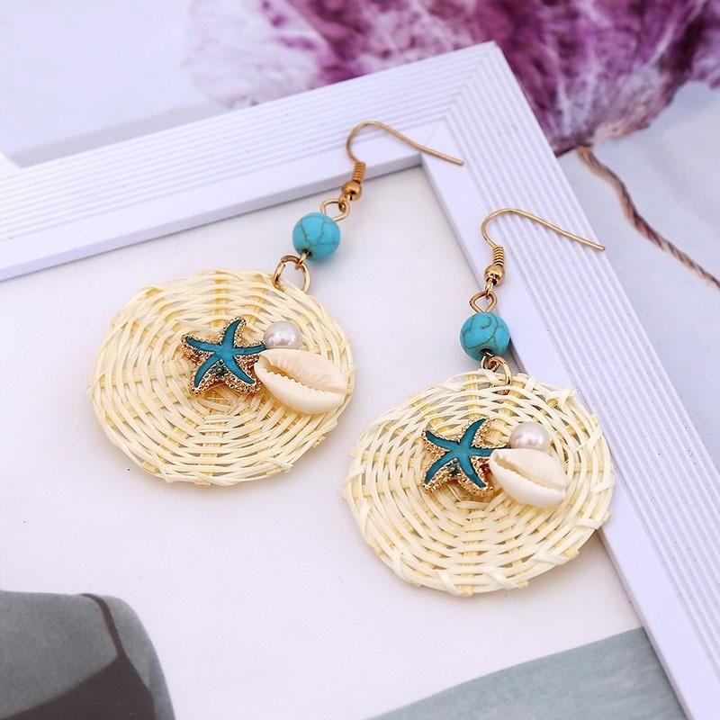 Geometric round shell pearl handmade rattan earrings women jewelry NHLA204616