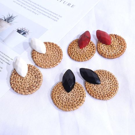 Geometric exaggerated resin rattan earrings for women round retro earrings jewelry NHLA204617's discount tags