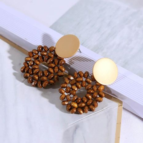 Fashion Beaded Wooden Vintage Earrings Female Korean Cute Girl Heart Geometric Earrings Wholesale NHLA204618's discount tags