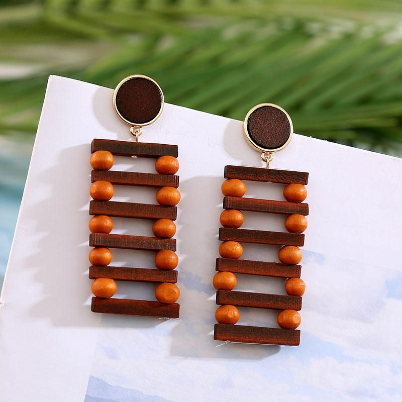 New geometric square handmade wooden beads Korean earrings women jewelry NHLA204620