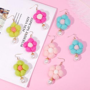 New Korean Autumn Winter Pure Wool Ball Flower Earring Jewelry Wholesale NHLA204623's discount tags