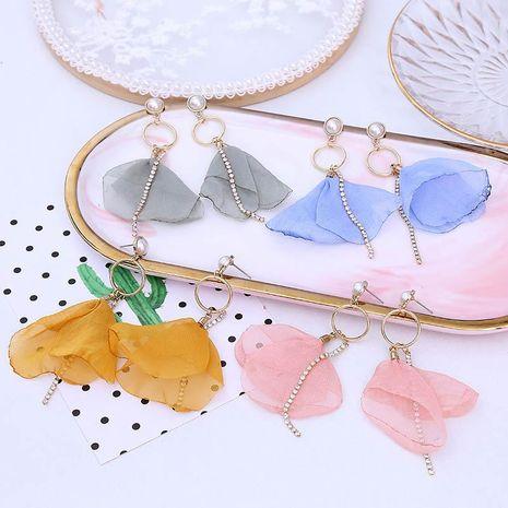 New tassel long rhinestone mesh flower Korean earrings pearl lace earrings jewelry NHLA204624's discount tags