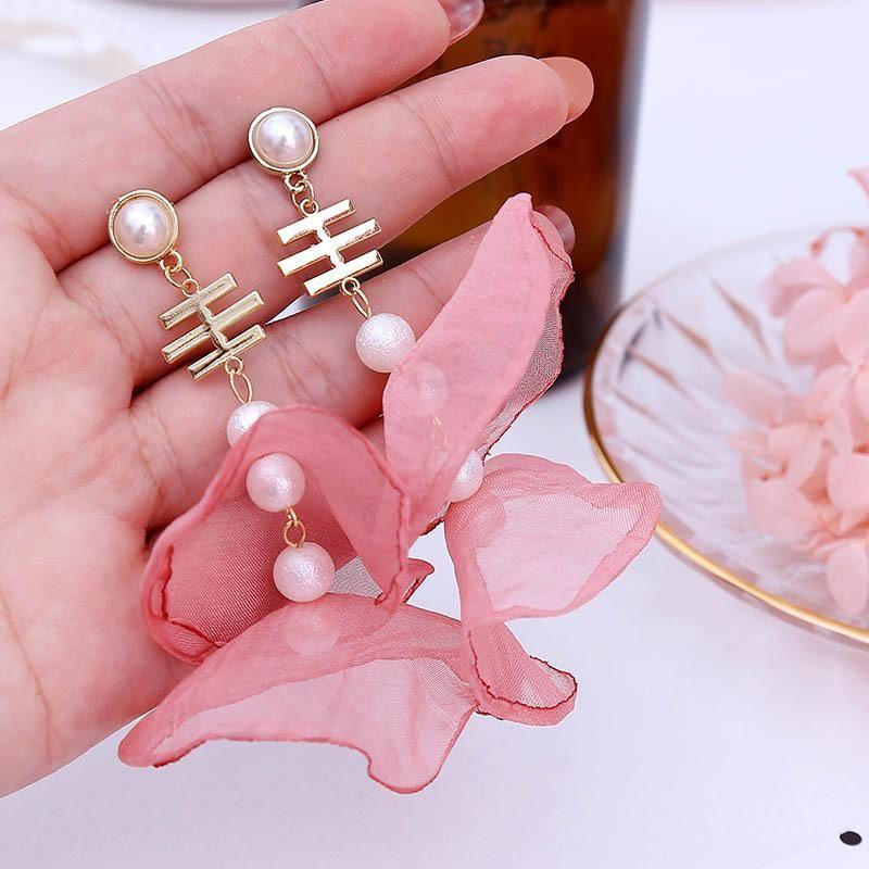 Korean Multi-layer Mesh Lace Flower Earrings Long Jewelry Wholesale NHLA204625