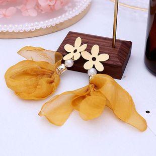 Korean style colorful net yarn cute girl heart earrings juan lace bohemian earrings NHLA204627's discount tags