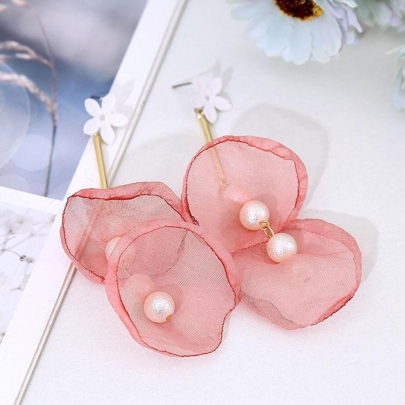 Korean multi-layer pearl mesh long lace flower earrings for women NHLA204628
