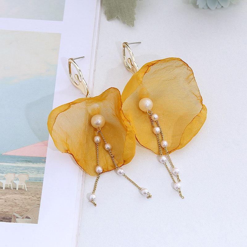 Korean style cloth flower stereo pearl net yarn earrings new long tassel jewelry NHLA204629