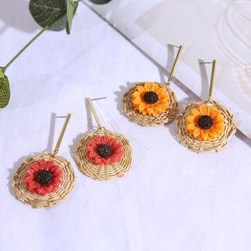 Coreano largo geométrico girasol pendientes de flores de ratán mujer retro vintage pendientes al por mayor NHLA204630