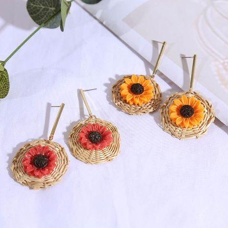 Korean long geometric sunflower rattan flower earrings female retro vintage earrings wholesale NHLA204630's discount tags