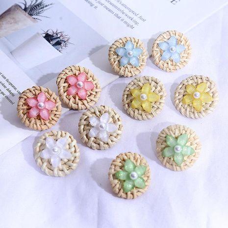 Korean cute geometric resin flower rattan earrings female round pearl acrylic earrings wholesale NHLA204631's discount tags