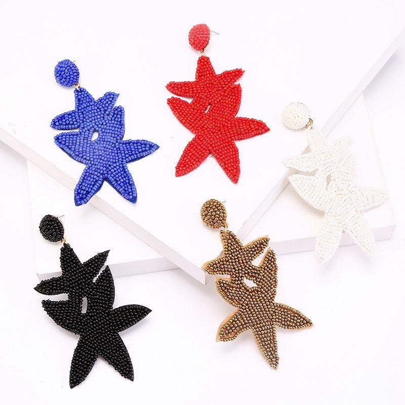 Long Handmade Beaded Leaf Earrings Geometric Earring Jewelry NHLA204634