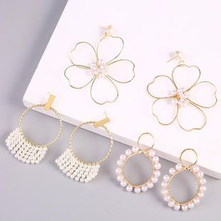 earrings geometric long baroque pearl earrings new hand-woven exaggerated earring jewelry NHLA204635's discount tags
