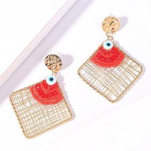 Geometric rhombus hand-woven devil's eye bead earrings metal earrings NHLA204636's discount tags