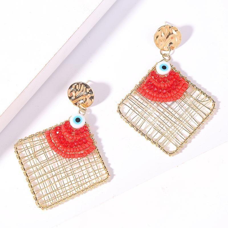 Geometric rhombus hand-woven devil's eye bead earrings metal earrings NHLA204636