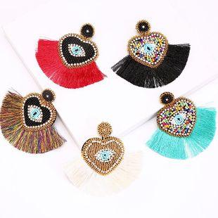 New Exaggerated Tassel Demon Eye Bead Earrings Women Large Earrings Jewelry NHLA204637's discount tags