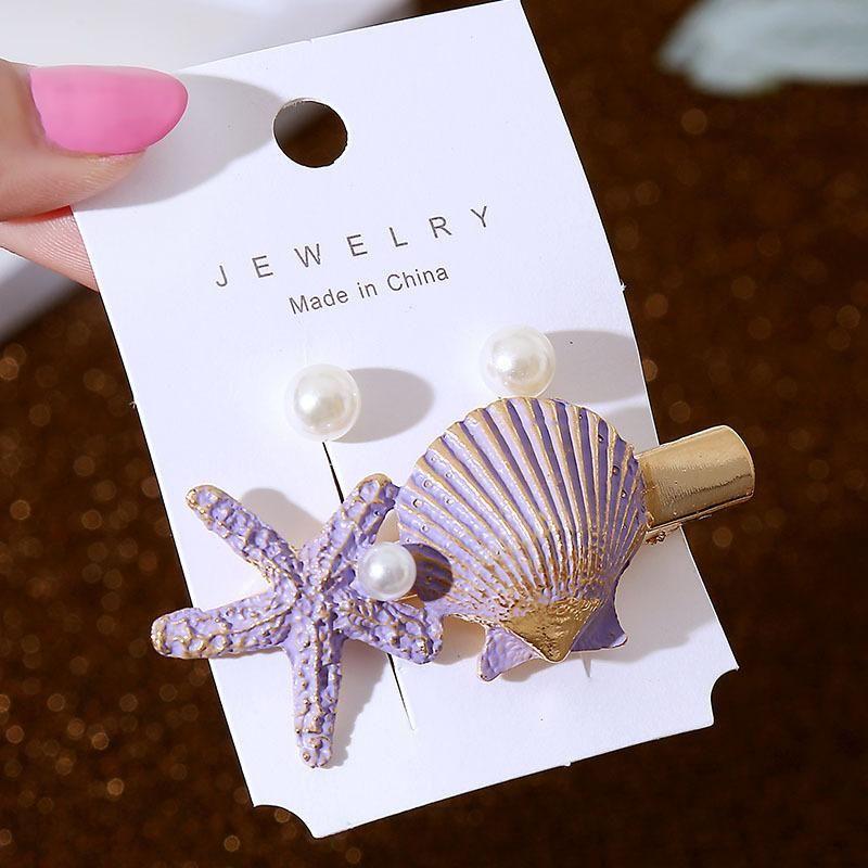 New Korean Metal Pearl Starfish Hair Clip Set Women's Retro Shell Geometric Hair Accessories NHLA204638
