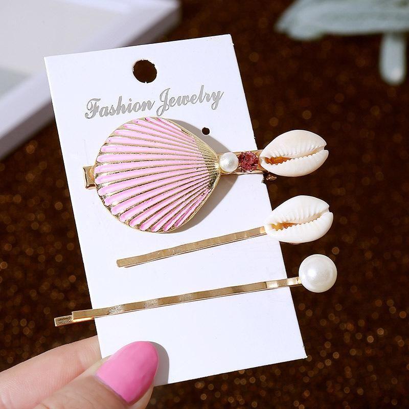 New Korean Cute Pearl Natural Shell Hair Clip Set Three Metal Word Clip NHLA204640
