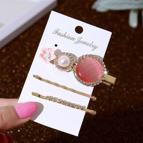 Korean Acrylic Acrylic Flower Hair Clip Set Lady Metallic Crystal Pearl Clip NHLA204641's discount tags