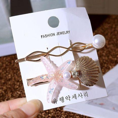 Korean simple pearl starfish hair clip set women's acrylic shell metal mesh red transparent hair accessory NHLA204642's discount tags