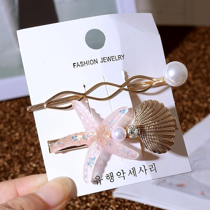 Korean simple pearl starfish hair clip set womens acrylic shell metal mesh red transparent hair accessory NHLA204642