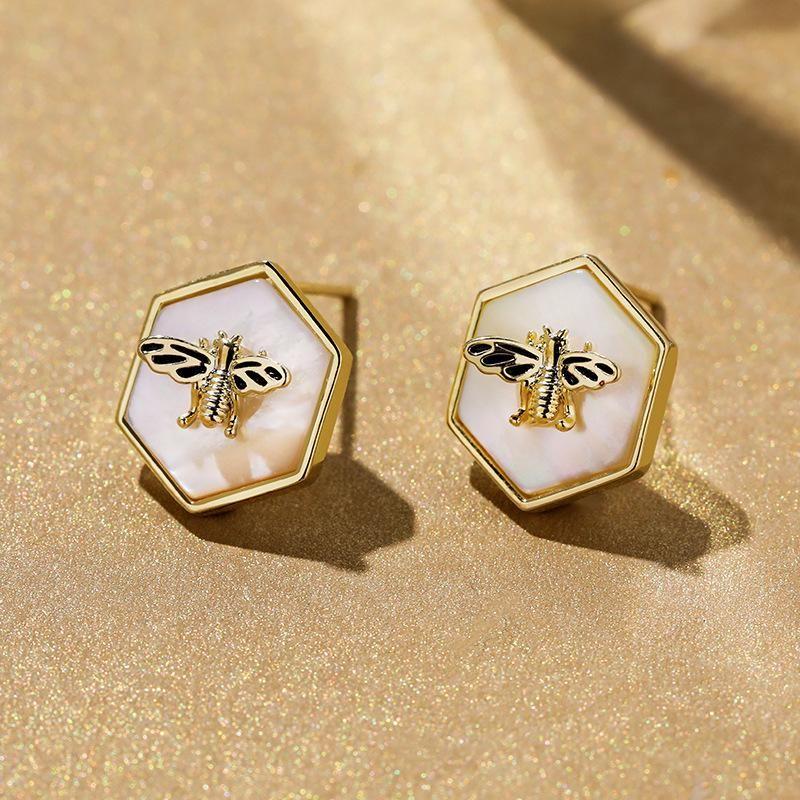 925 Silver Needle Small Bee Ear Studs New Geometric Earrings NHPP204643