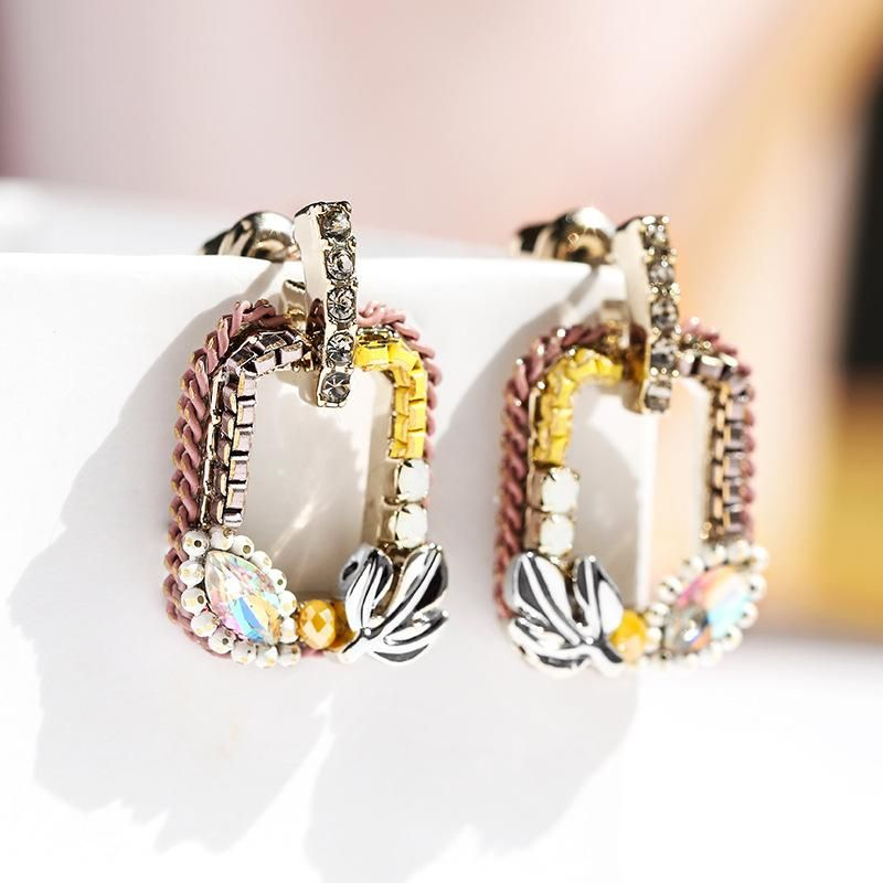925 Silver Pin Retro Square Earrings New Exaggerated Earrings NHPP204644
