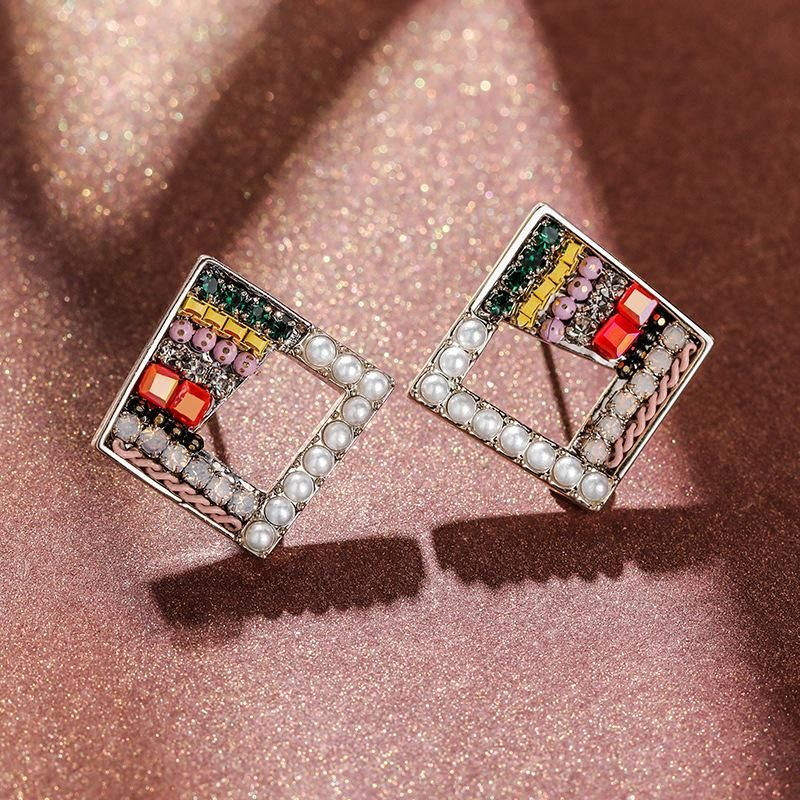 925 Silver Pin Diamond Simple Earrings New Imitation Pearl Earrings NHPP204650