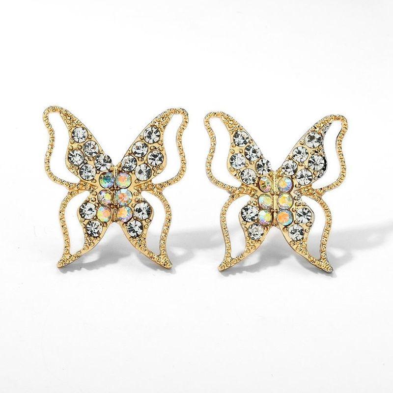 Korean 925 Silver Stud Earrings Diamond Geometric Butterfly Hollow Earrings Women Wholesale NHMD204663