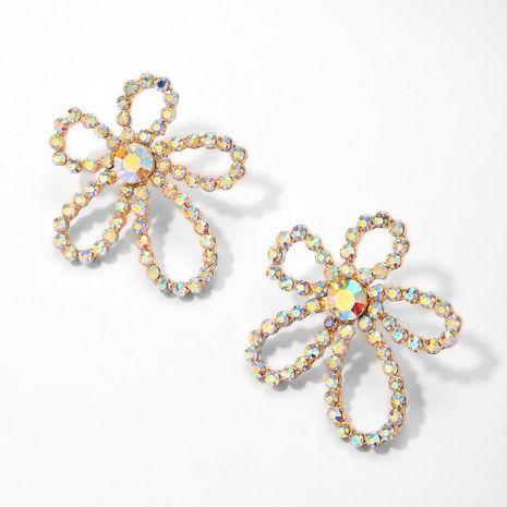 Korean New Style Diamond Earrings 925 Silver Needle Hypoallergenic Flower Pearl Fashion Earrings Wholesale NHMD204664's discount tags