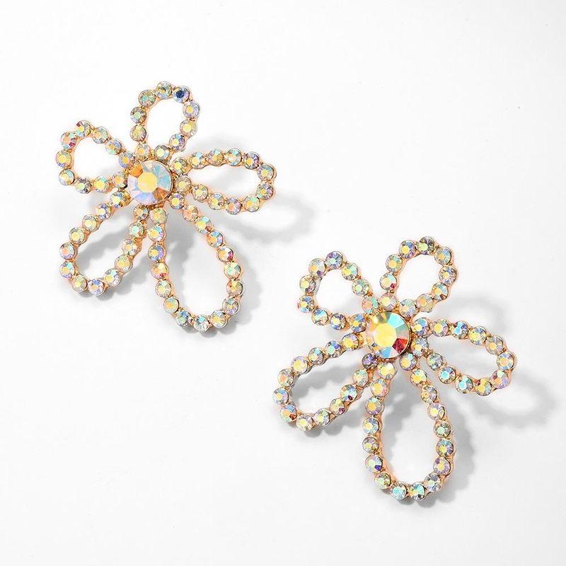 Korean New Style Diamond Earrings 925 Silver Needle Hypoallergenic Flower Pearl Fashion Earrings Wholesale NHMD204664