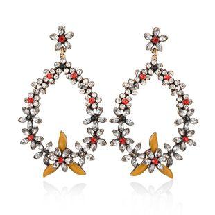 Korean new alloy earring fashion wild geometric drop type diamond flower earrings wholesale NHMD204666's discount tags