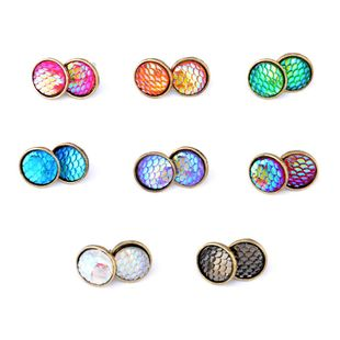 New Fashion Fish Scale Time Gem Flat Diamond Ear Studs Wholesale NHPV204688's discount tags
