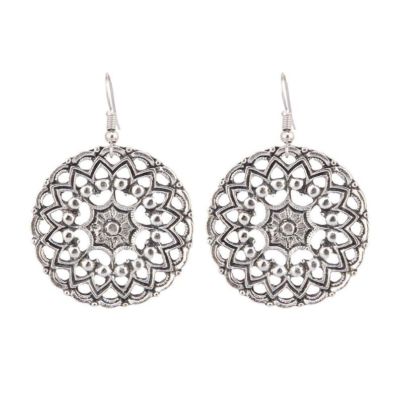 New Fashion Retro Fashion Hollow Carved Geometric Round Simple Wild Women's Earrings Wholesale NHPV204689