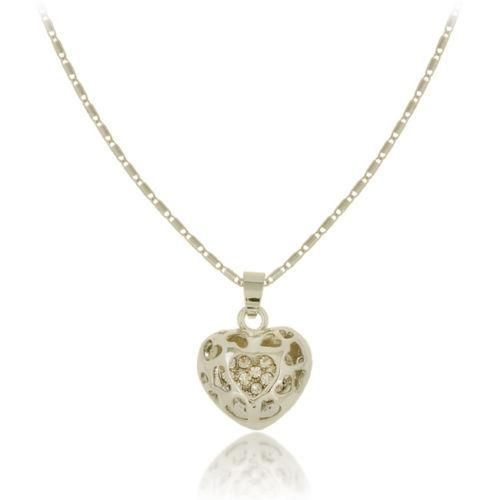 New Korean Necklace Fashion Peach Heart Hollow Diamond Necklace Wholesale NHPV204695
