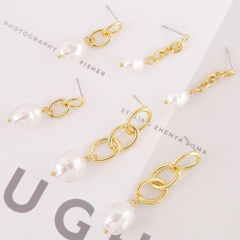 New chain pearl drop earrings exaggerated women's accessories earrings NHJJ204699