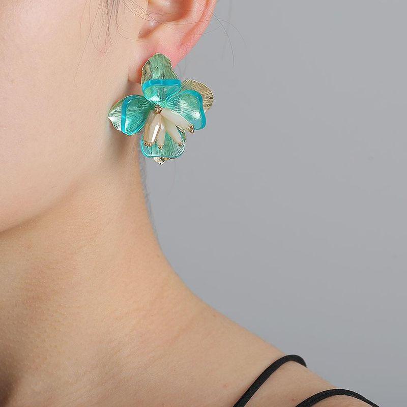 New Exaggerated Fashion Flower Multilayer Earrings Bohemian Diamond Stud Earrings NHJJ204706