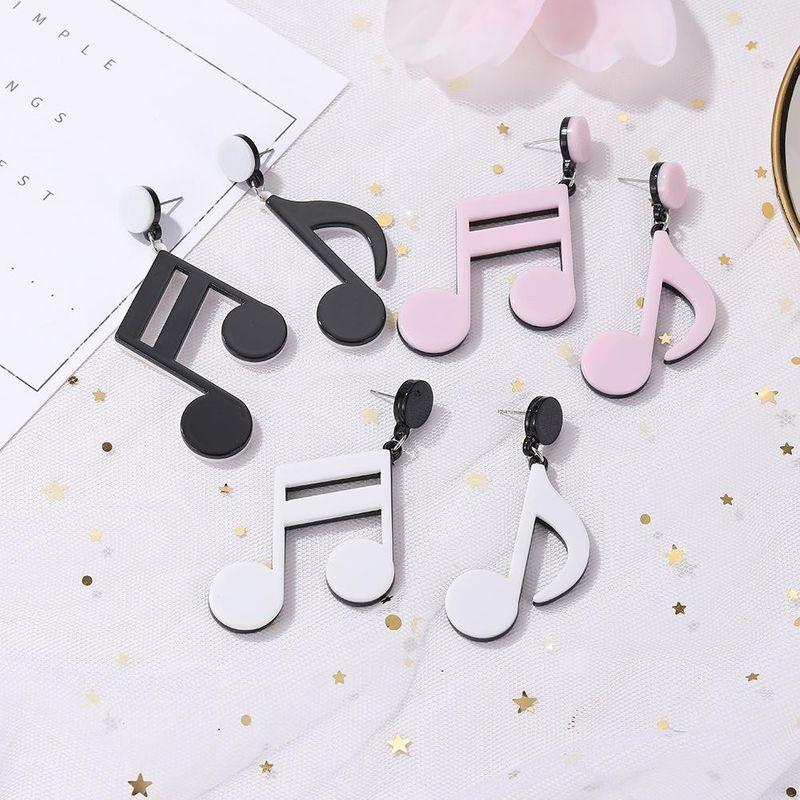 Korea new fashion cute black and white earrings notes exaggerated earrings wholesale NHJJ204709