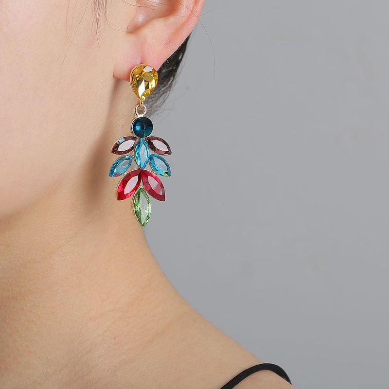 New fashion full diamond earrings long leaf glass diamond earrings wholesale NHJJ204714