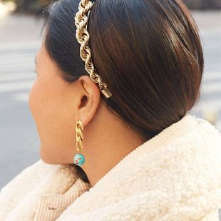 Fashion simple alloy earrings new chain cobblestone ear jewelry NHJQ204720's discount tags