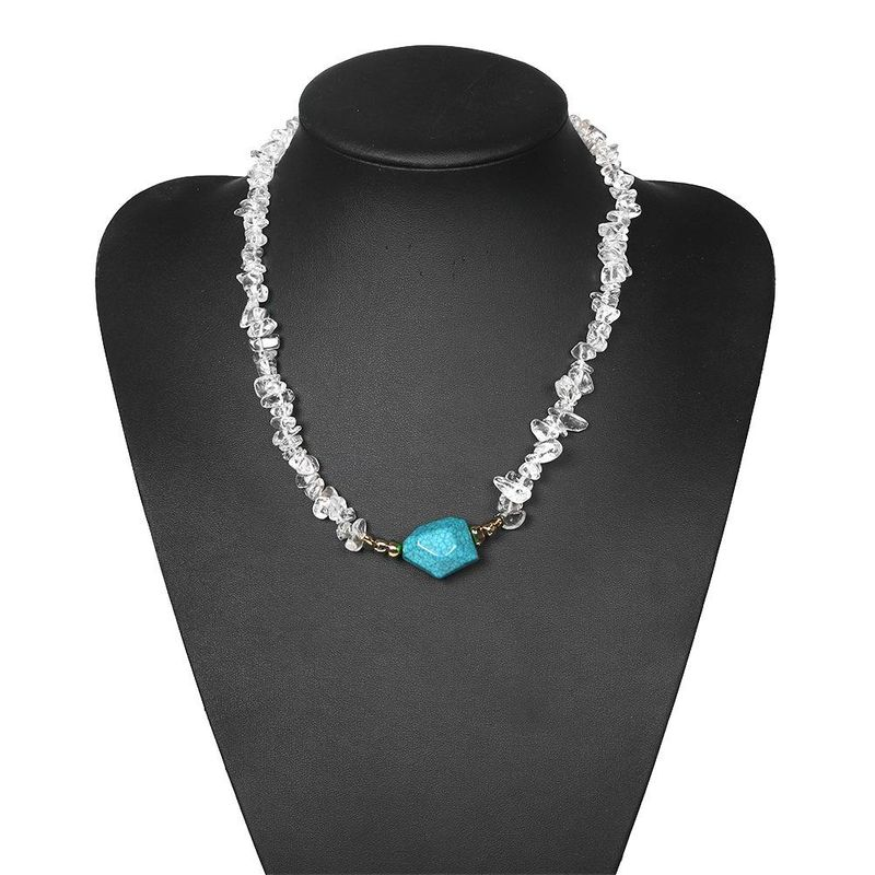 New Fashion Irregular Transparent Pearl Greenstone Beaded Necklace Women Wholesale NHJQ204724