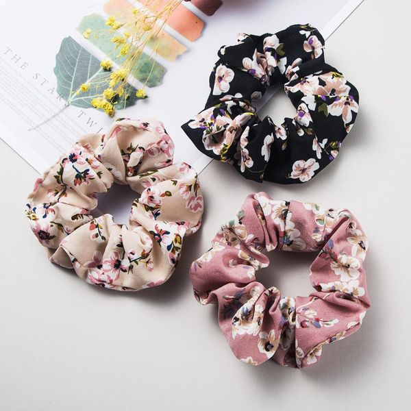 Korean retro flowers and flowers printed hair ring mixed color fabric simple head rope cheap rubber band wholesale NHLN204727